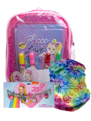JoJo Siwa Mini Backpack and Art Set w/ Tie-Dye Face Cover Wrap & Charm Bracelet