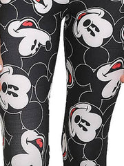 Women Junior Disney Mickey Mouse Faces Leggings All-Over Print Stretch Athletic