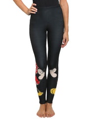 Disney Womens Junior Mickey and Minnie Mouse Kissing Leggings Stretch Black