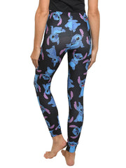 Womens Juniors Disney Stitch Leggings All Over Print Stretch Black
