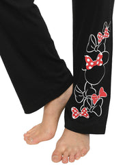 Womens Junior Disney Minnie Mouse Icon Bows Lounge Pants Wear Black