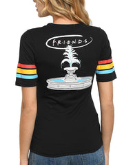 Junior Women FRIENDS T-shirt with Back Graphic of Fountain Black Size Small