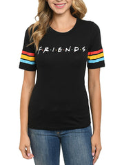 Junior Women FRIENDS T-shirt with Back Graphic of Fountain Black
