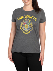 Juniors Womens Harry Potter Hogwarts Shield Crest High-Low Short Sleeve T-Shirt
