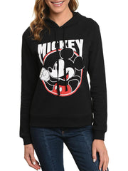 Juniors Mickey Mouse Hoodie Sweatshirt Lightweight Front & Back