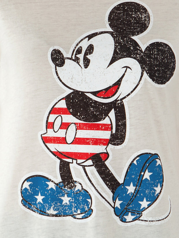 Juniors Mickey Mouse USA Flag July 4th T-Shirt - Off White Size Medium