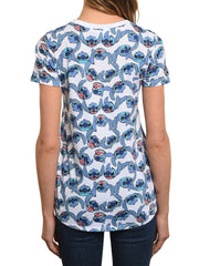 Juniors Disney Stitch All-Over T-Shirt White