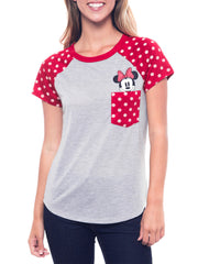 Juniors Minnie Mouse Pocket T-Shirt Polka-Dot Red