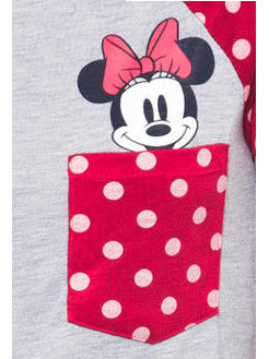 Women Juniors Plus Size Minnie Mouse T- Shirt Polka-Dot Pocket