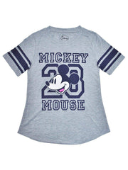 Juniors Mickey Mouse Athletic T-Shirt Gray Blue Football Style