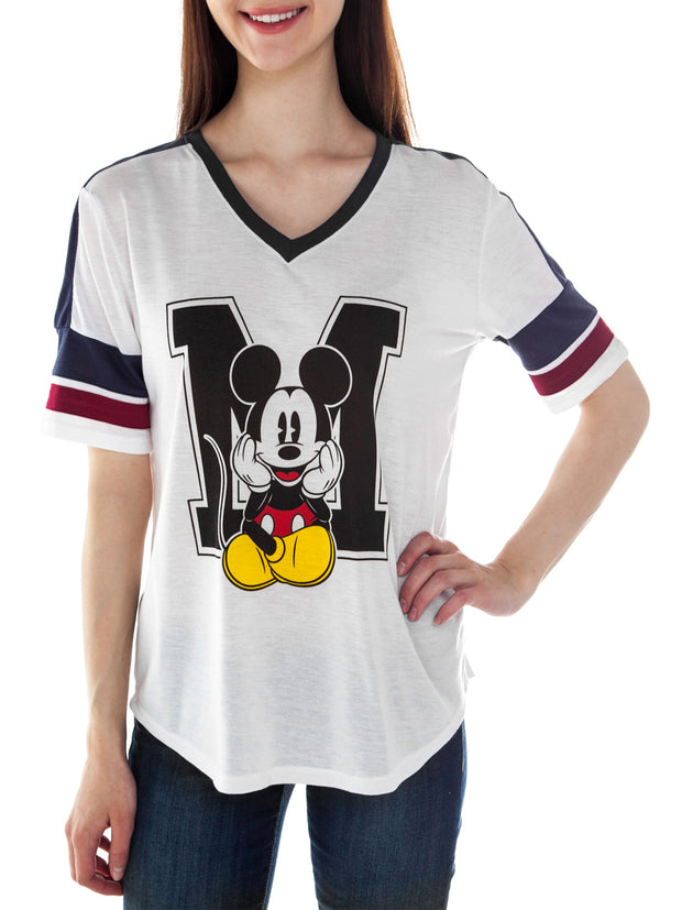 Juniors Mickey Mouse Athletic V-Neck T-Shirt White Small