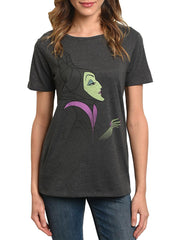 Disney Women's Maleficent Villain T-Shirt Charcoal Gray Short Sleeve