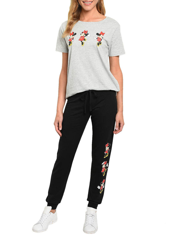 Disney Minnie Mouse Women T-Shirt & Jogger Pants 2-Piece Set