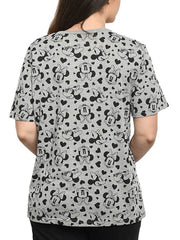 Women's Disney Minnie Mouse and Hearts All-Over Print Short Sleeve T-Shirt