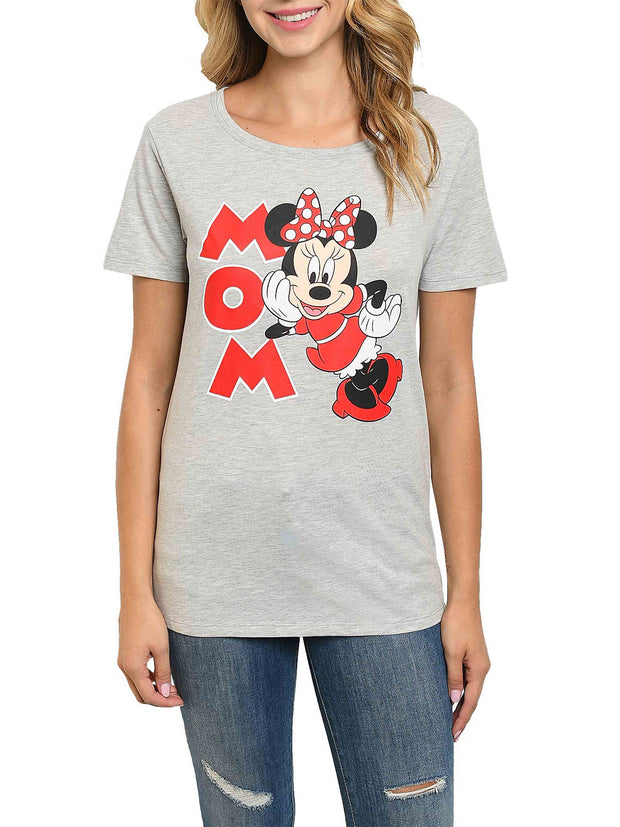 Disney Women Minnie Mouse Mom T-Shirt Red Gray Short Sleeve
