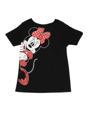 Disney Women's Minnie Mouse  T-Shirt Leaning Short Sleeve Black