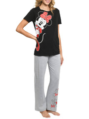 Disney Women's Minnie Mouse Leaning Bows Lounge Pajamas Gray 2 Piece Set