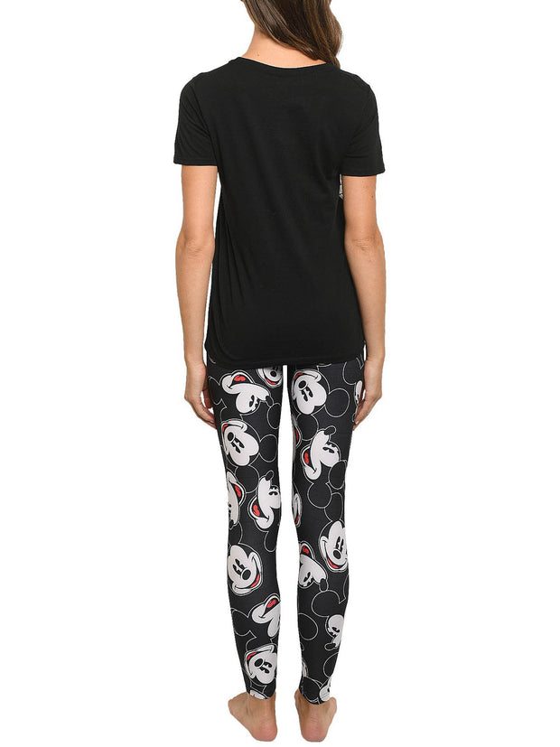 Disney Womens Junior Minnie Mouse T-Shirt & Mickey All-Over Print Leggings Set