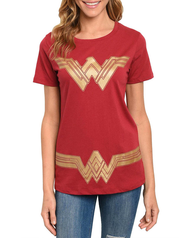 DC Comics Women's Wonder Woman Costume T-Shirt Short Sleeve Red