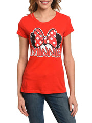 Disney Minnie Mouse Juniors Women Signature Ears & Bow Fitted T-Shirt Red
