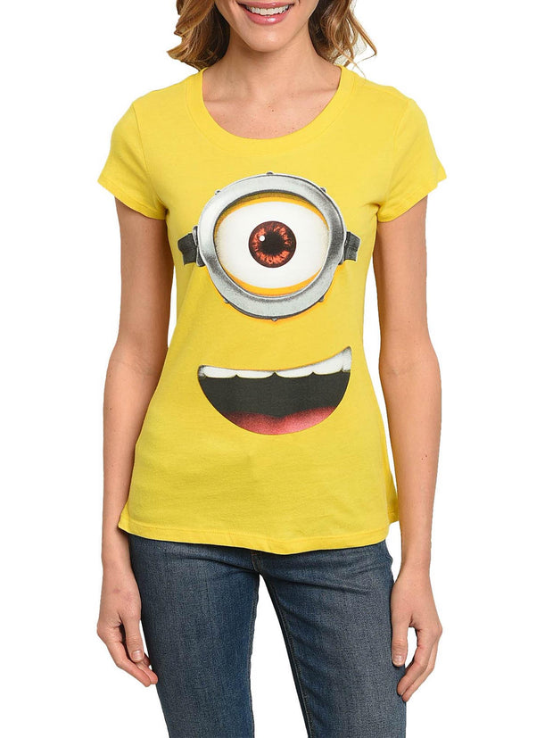 Juniors Minions Face Print Fitted T-Shirt Despicable Me Tee Yellow