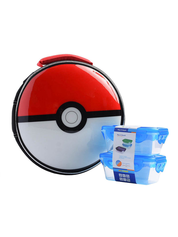 Kids Pokemon Pokeball Shaped Insulated Lunch Bag w/ Snack Container Set