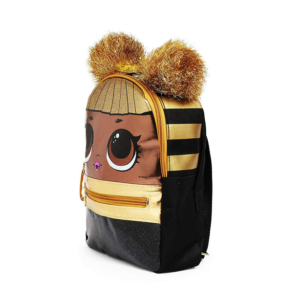 "Girls LOL Surprise! Queen Bee 10"" Small  Backpack Gold Pom Poms"
