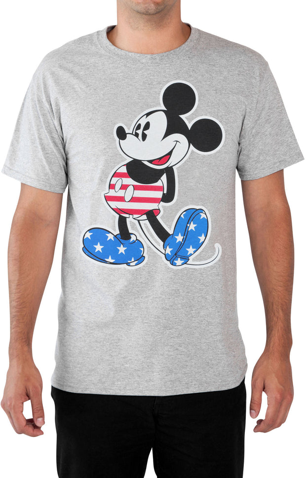 Men's Big & Tall Mickey Mouse American Flag Patriotic T-Shirt Gray Size XL