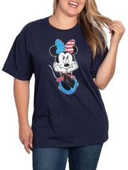 Women's Plus Size Minnie Mouse USA T-Shirt Navy July 4th