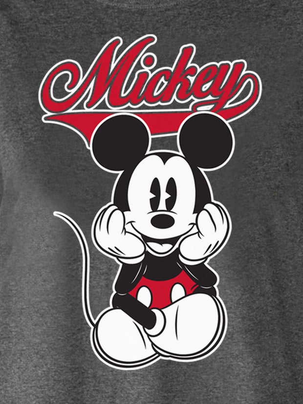 Women's Plus Size Mickey Mouse Varsity T-Shirt Charcoal Gray
