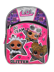 "LOL Surprise! Girls 16"" Backpack Go Team Glitter Black Purple"