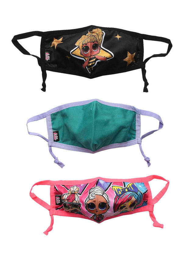 Kids Girls LOL Surprise 3 Pack Reusable Face Masks Covering Queen Bee Funky QT