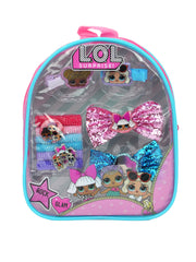 LOL Surprise! Girls Hair Accessory Set Backpack 10-Pieces Bow Hair Ponies Clips
