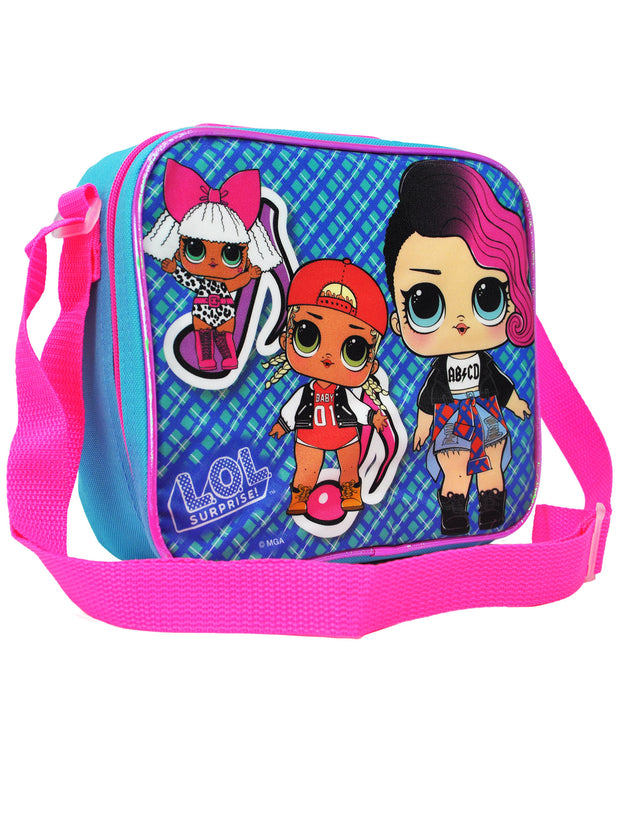 Girls LOL Surprise Insulated Lunch Bag and Shoulder Strap Glee Club  Blue Plaid