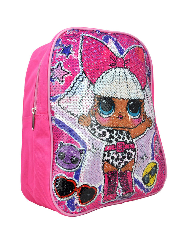 "LOL Surprise! Girls 12"" Small Backpack Reversible Sequins Pink"