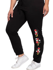 Disney Minnie Mouse Womens Plus Size Jogger Pants Lounge Wear Black