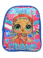 "LOL Surprise 12"" Mini  Backpack Blue Reversible Sequins w/ 8PK Colormax Markers"
