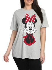 Women's Plus Size Disney Minnie Mouse Sitting Short Sleeve T-Shirt Gray