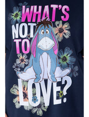 Disney Women's Plus Size Eeyore T-Shirt What's Not to Love Navy Blue