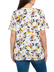Women's Plus Size Mickey & Minnie Mouse All-Over T-Shirt Short Sleeve White