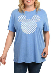 Women's Plus Size Mickey Mouse Icons T-Shirt Heather Blue