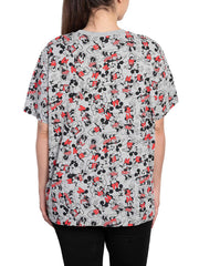 Disney Womens Plus Size Mickey and Minnie Mouse All-Over Print T-Shirt Gray