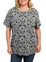 Women's Plus Size Minnie Mouse Hearts All-Over T-Shirt Gray