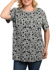 Women's Plus Size Minnie Mouse All-Over T-Shirt Gray