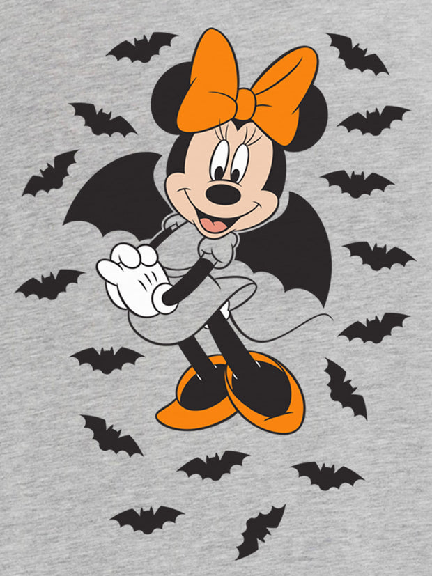 Disney Women's Plus Size Minnie Mouse Halloween T-Shirt Gray Bats