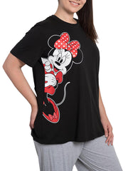 Womens Plus Size Disney Minnie Mouse Leaning Short Sleeve T-Shirt Black