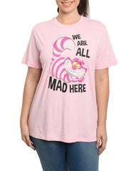 Women's Cheshire Cat Alice in Wonderland Plus Size T-Shirt Pink