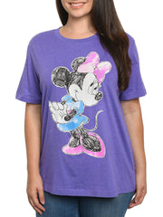Disney Women's Plus Size Minnie Mouse Sketch Short Sleeve T-Shirt Heather Purple