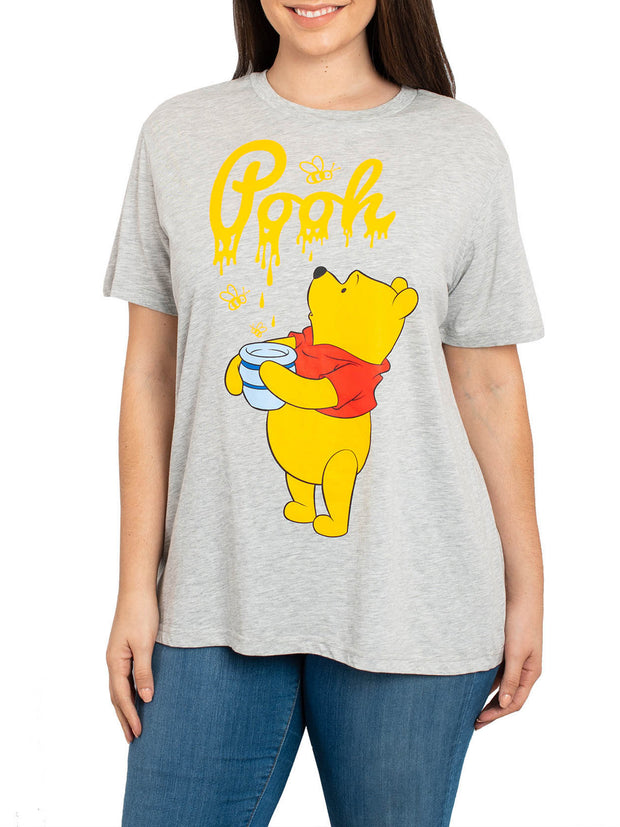 Women's Plus Size Winnie The Pooh Honey Bees Short Sleeve T-Shirt Heather Gray