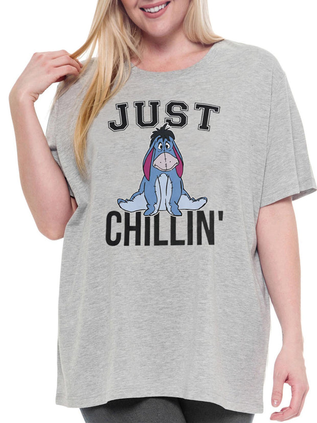 Women's Plus Size Eeyore Winnie The Pooh Just Chillin T-Shirt Gray